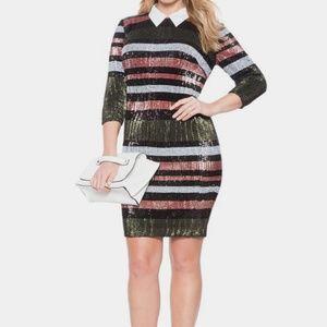 NWT Eloquii Studio Collared Stripe Sequin Dress